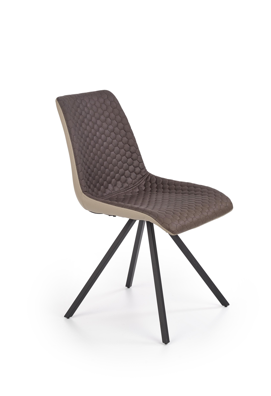 Scaun tapitat cu stofa si piele ecologica, cu picioare metalice K394 Maro / Bej, l47xA60xH84 cm imagine