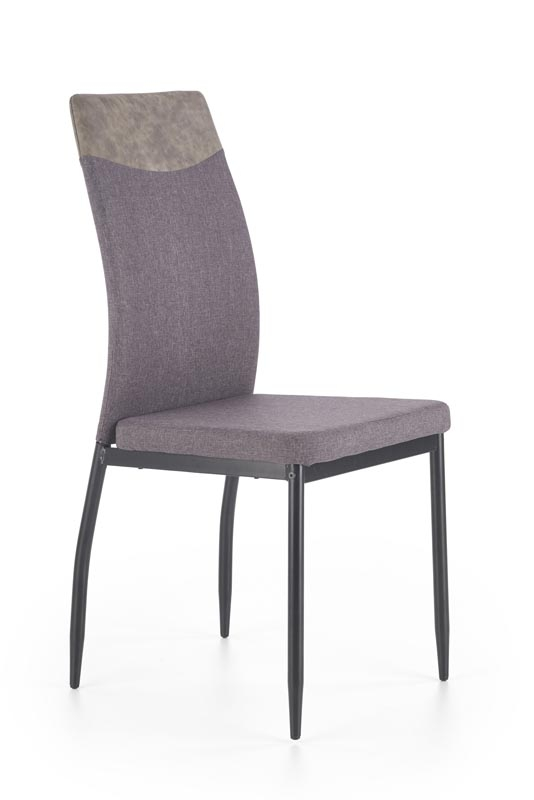 Scaun tapitat cu stofa si piele ecologica, cu picioare metalice K276 Dark Grey / Grey Miami, l48xA54xH97 cm