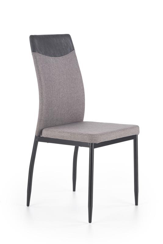 Scaun tapitat cu stofa si piele ecologica, cu picioare metalice K276 Light Grey / Black Miami, l48xA54xH97 cm poza