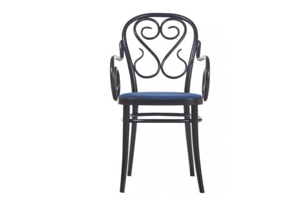 Scaun din lemn de fag, tapitat cu piele Classic 04 Wenge / Blue, l51,5xA59xH87 cm