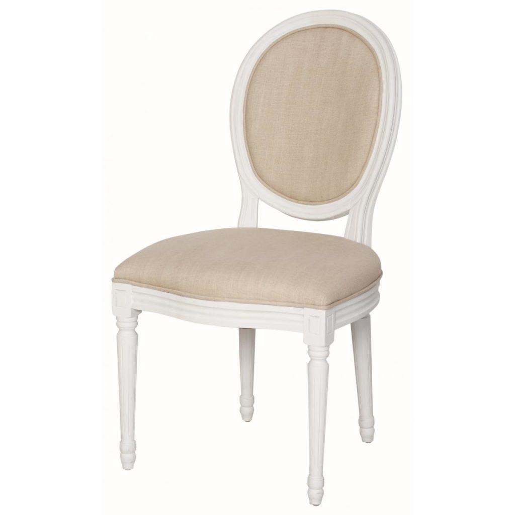 Scaun din lemn de plop, tapitat cu stofa Upholstered TA024 White / Beige, l52xA57xH94 cm