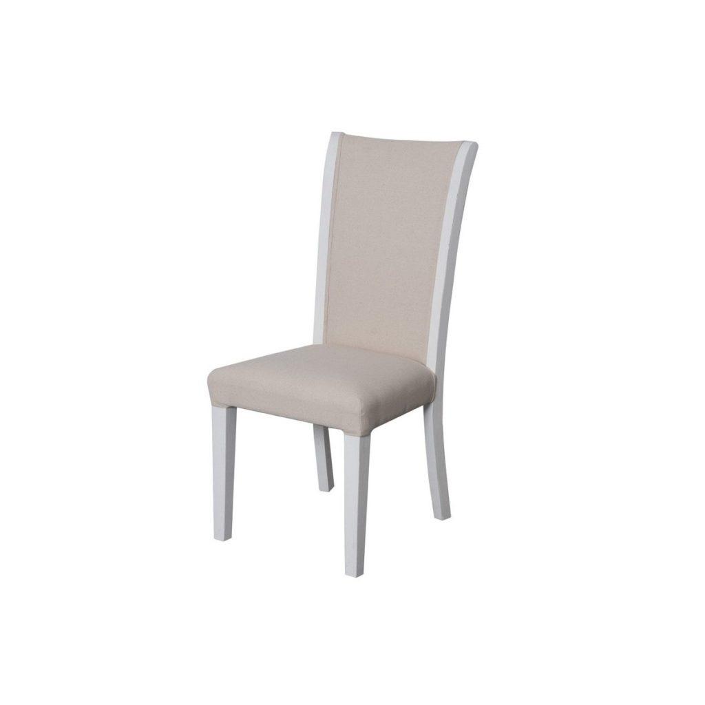Scaun din lemn de plop, tapitat cu stofa Upholstered TA028 White / Beige, l45xA55xH100 cm