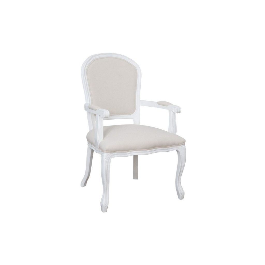Scaun din lemn de plop, tapitat cu stofa Upholstered TA319 White / Cream, l60xA68xH98 cm