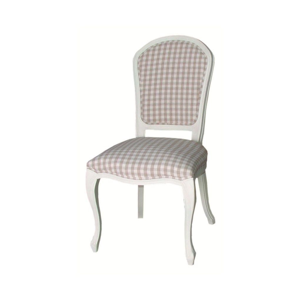Scaun din lemn de plop, tapitat cu stofa Upholstered TA319B White / Beige, l60xA68xH98 cm