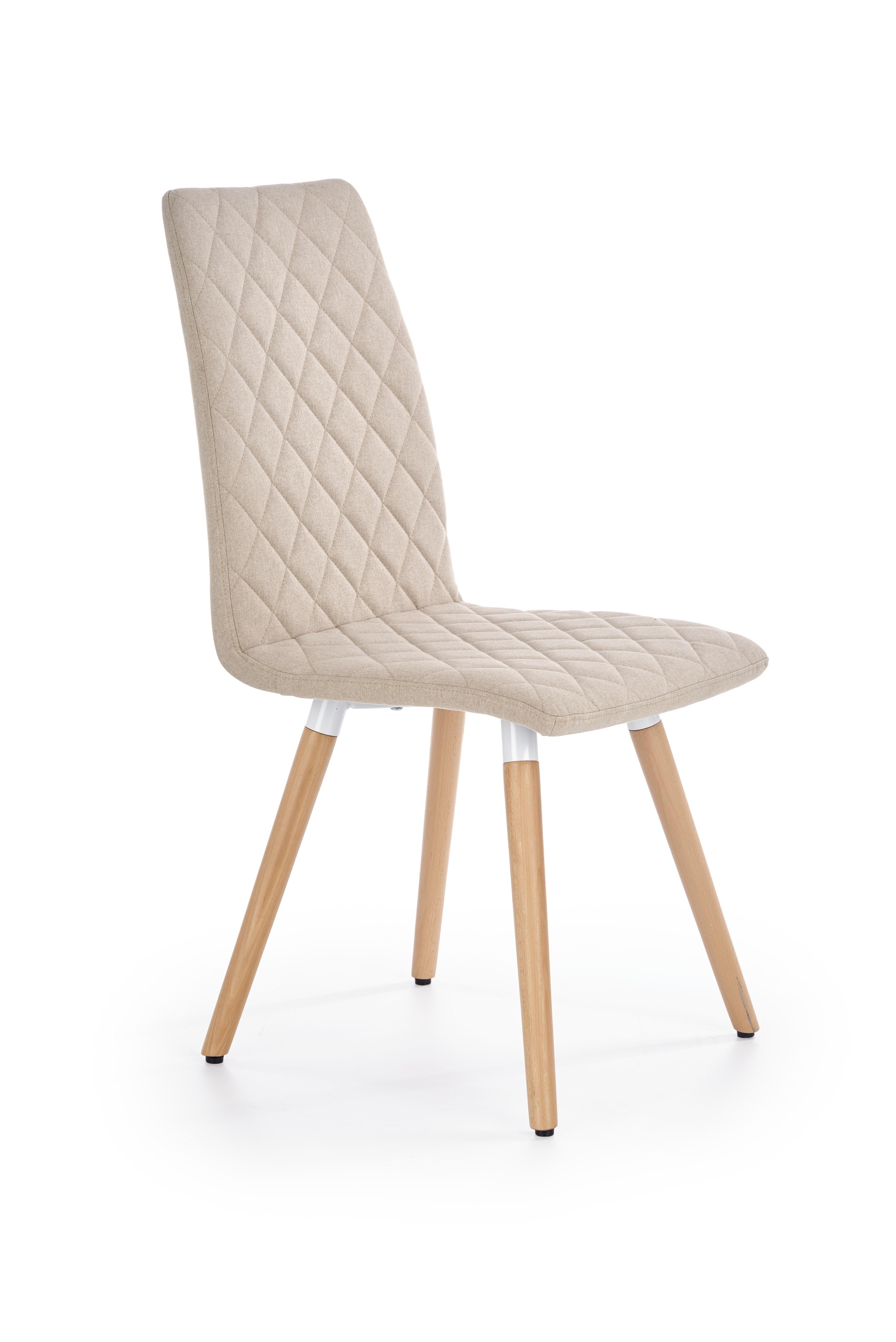 Scaun tapitat cu stofa, cu picioare din lemn K282 Beige, l56xA44xH93 cm