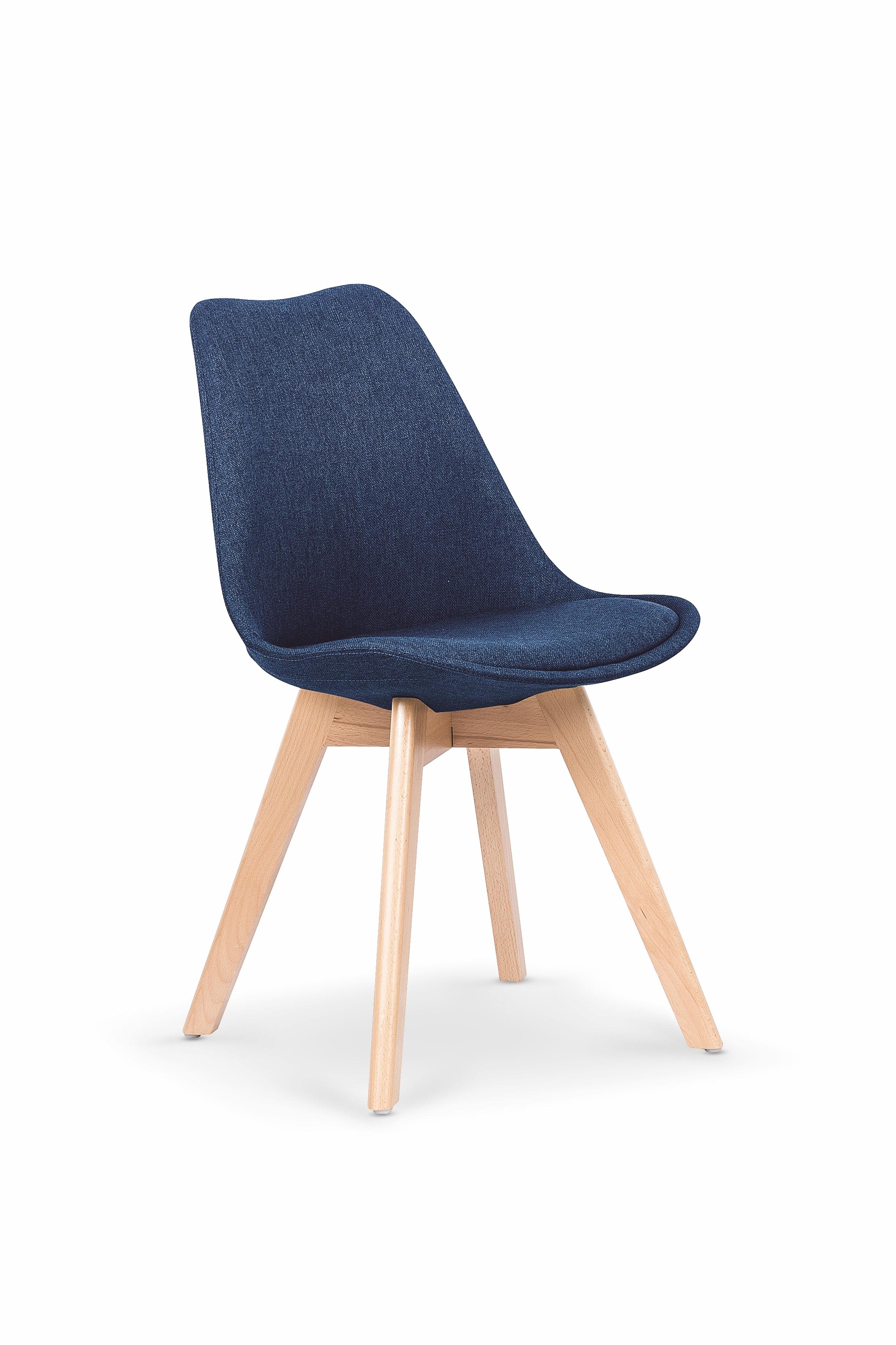 Scaun tapitat cu stofa, cu picioare din lemn K303 Dark Blue, l48xA54xH83 cm