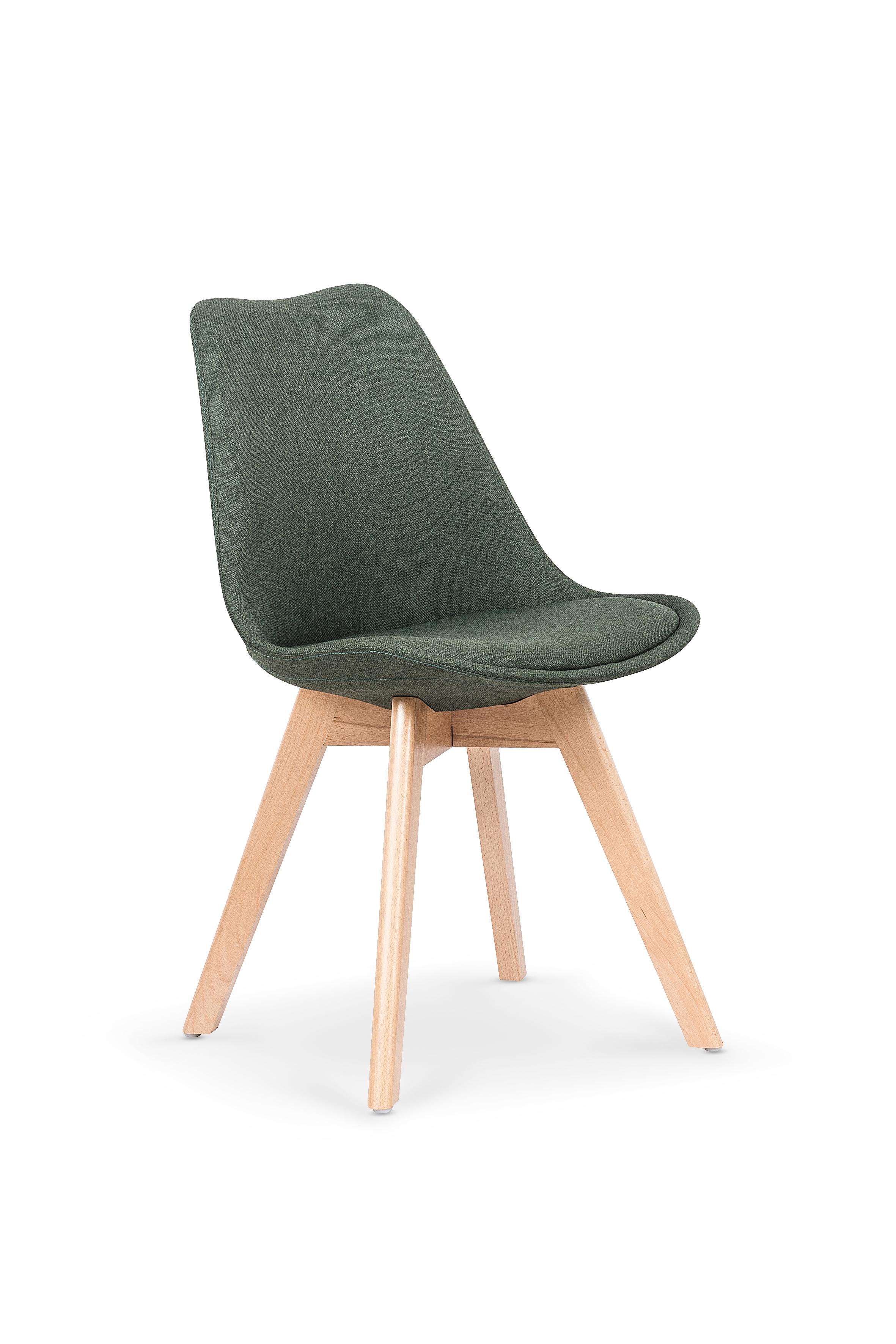 Scaun tapitat cu stofa, cu picioare din lemn K303 Dark Green, l48xA54xH83 cm