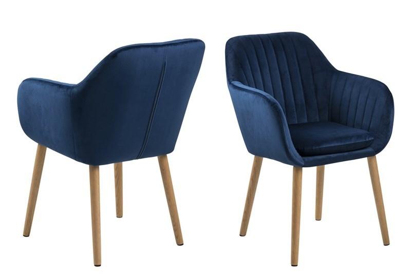 Scaun tapitat cu stofa, cu picioare din lemn Emilia Dark Blue, l57xA61xH83 cm