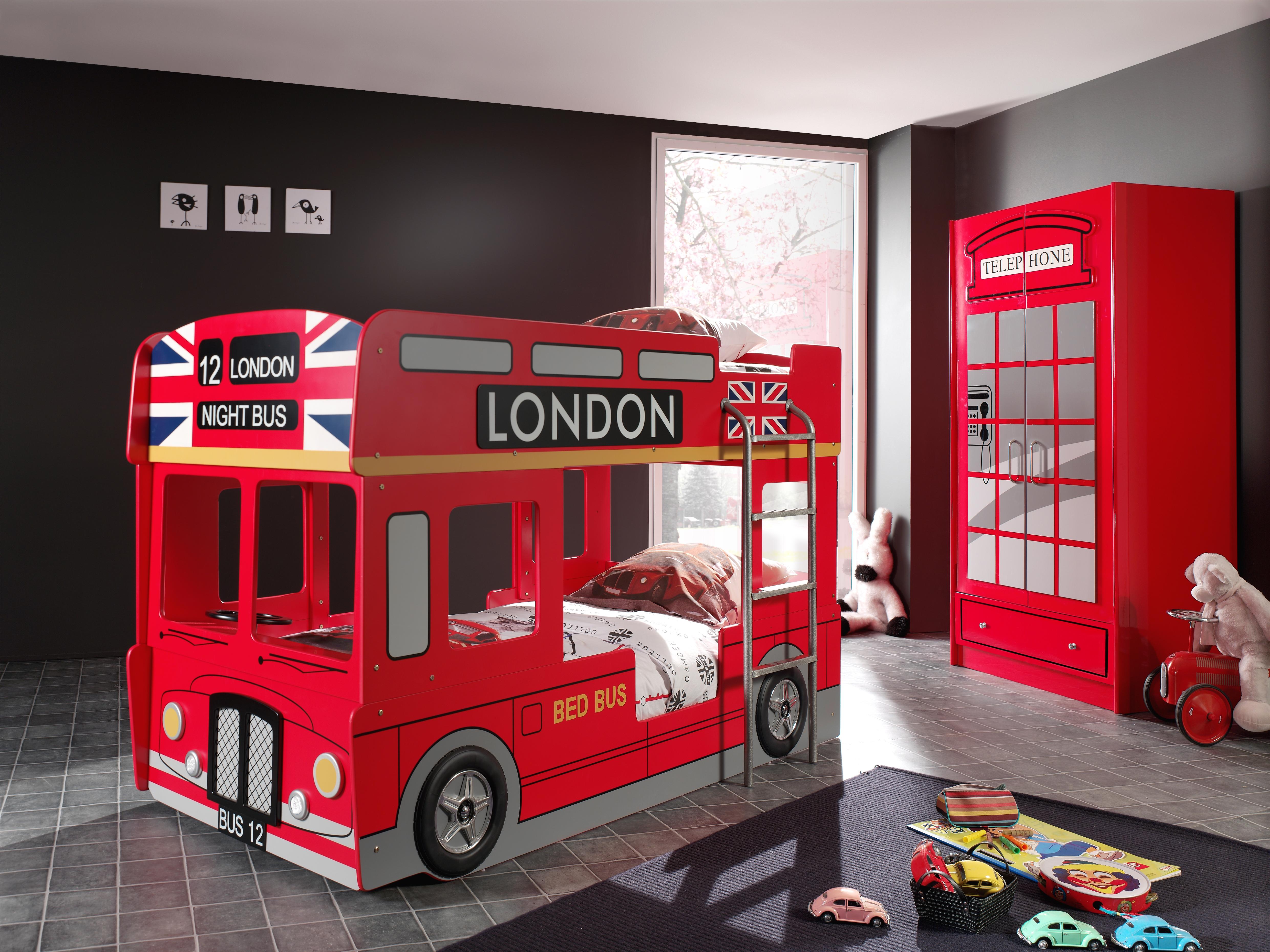 Pat din MDF pentru copii London Bus