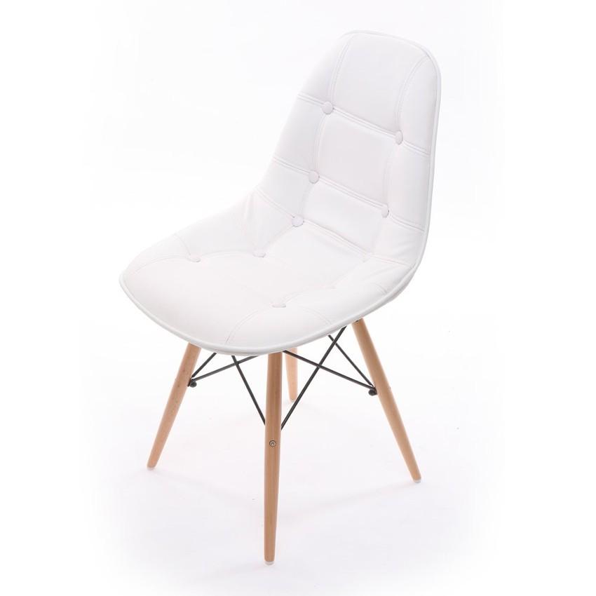 Scaun tapitat cu piele ecologica si picioare de lemn Iars White l41xA36xH83 cm