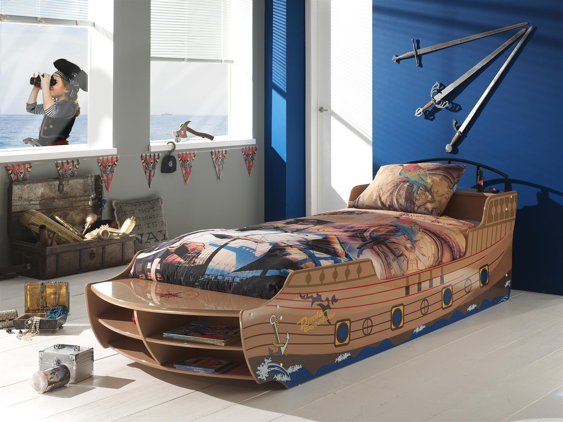 Pat din MDF pentru copii Pirate Boat
