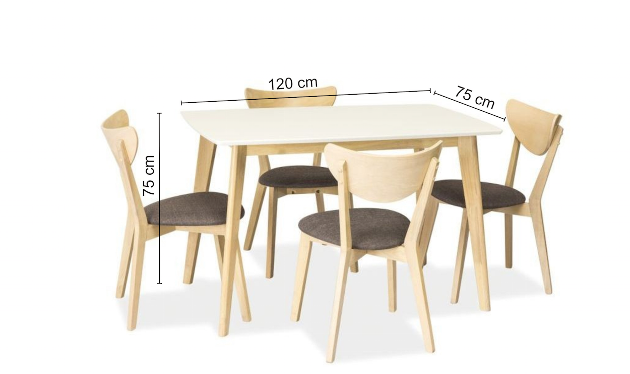 Set masa din MDF si lemn Combo White / Oak + 4 scaune CD-37 Grey / Oak, L120xl75xH75 cm imagine