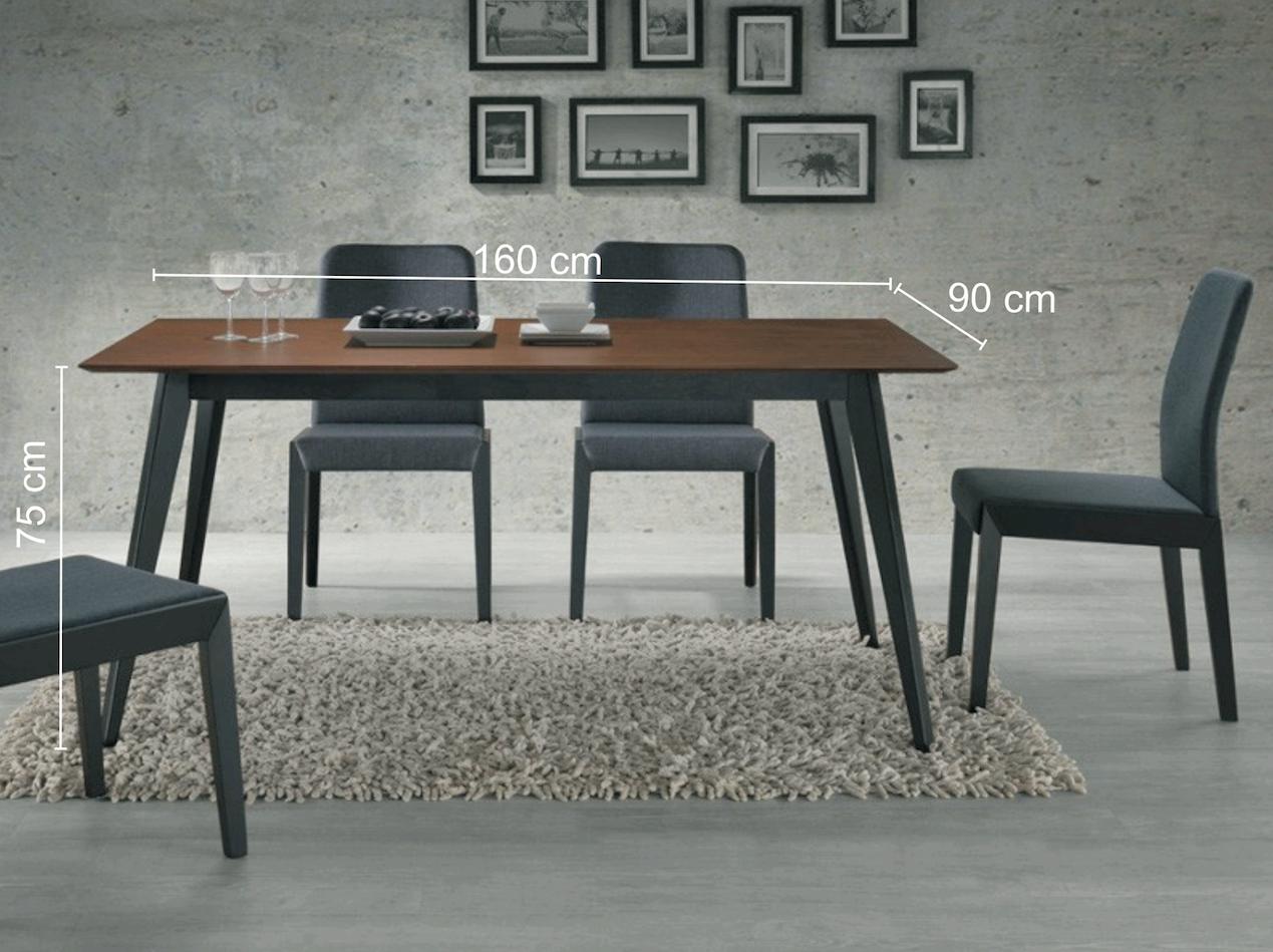 Masa din lemn masiv, MDF si furnir Brando nuc-negru