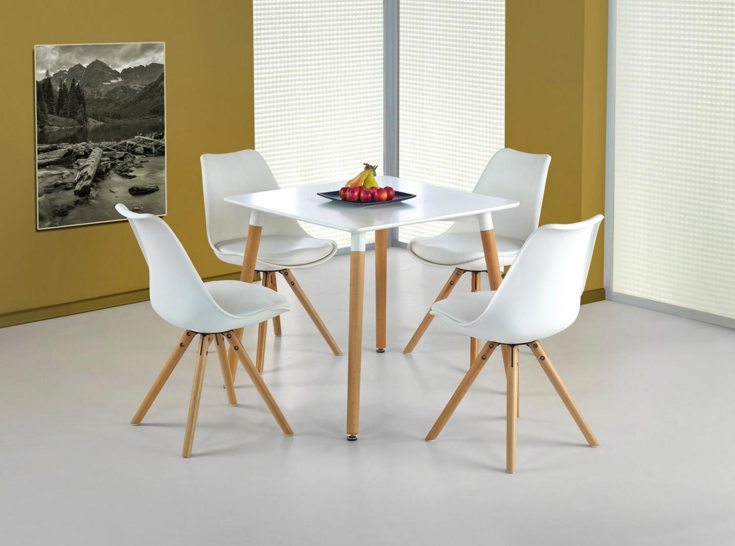 Set masa din MDF si lemn Socrates Kwadrat White + 4 Scaune K201 White, L80xl80xH74 cm somproduct.ro