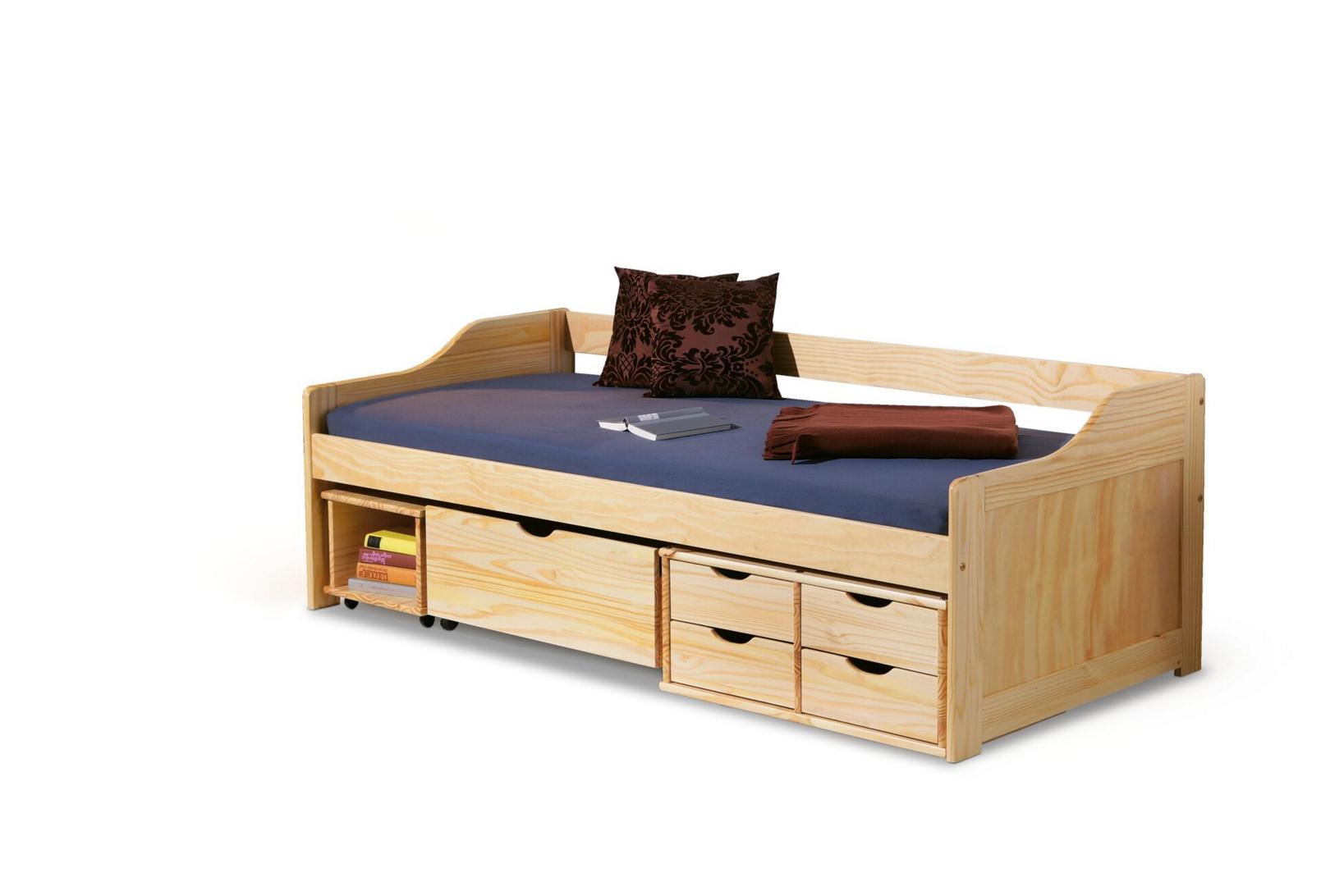 Pat din lemn de pin pentru copii Maxima Natural, 200 x 90 cm imagine