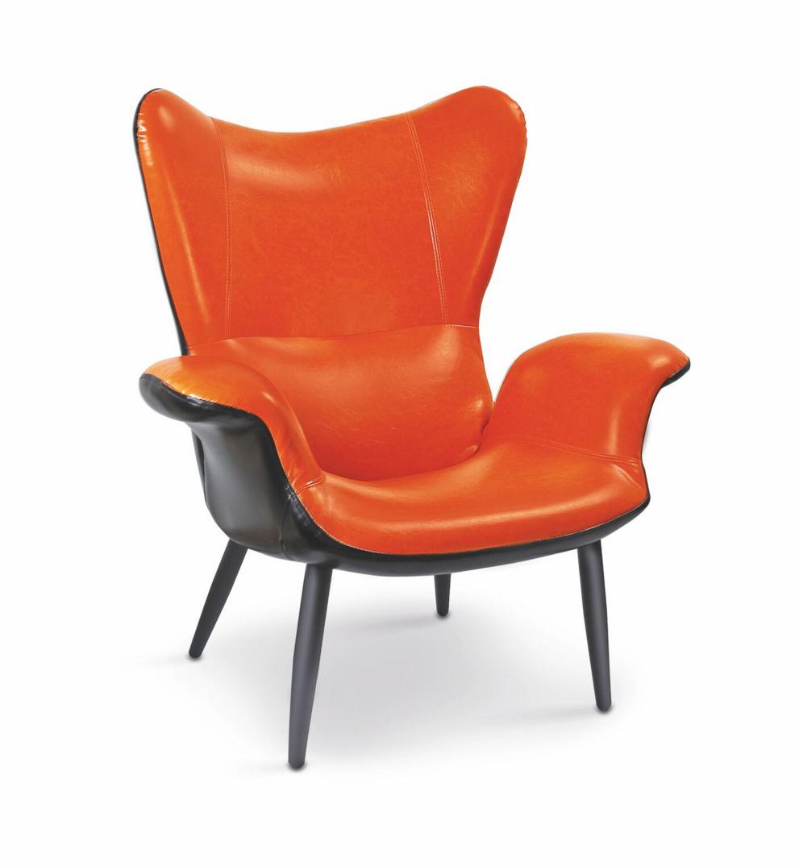 Fotoliu tapitat cu piele ecologica Pegas-M Orange