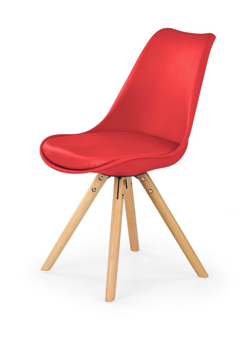 Scaun din lemn tapitat cu piele ecologica K201 Red