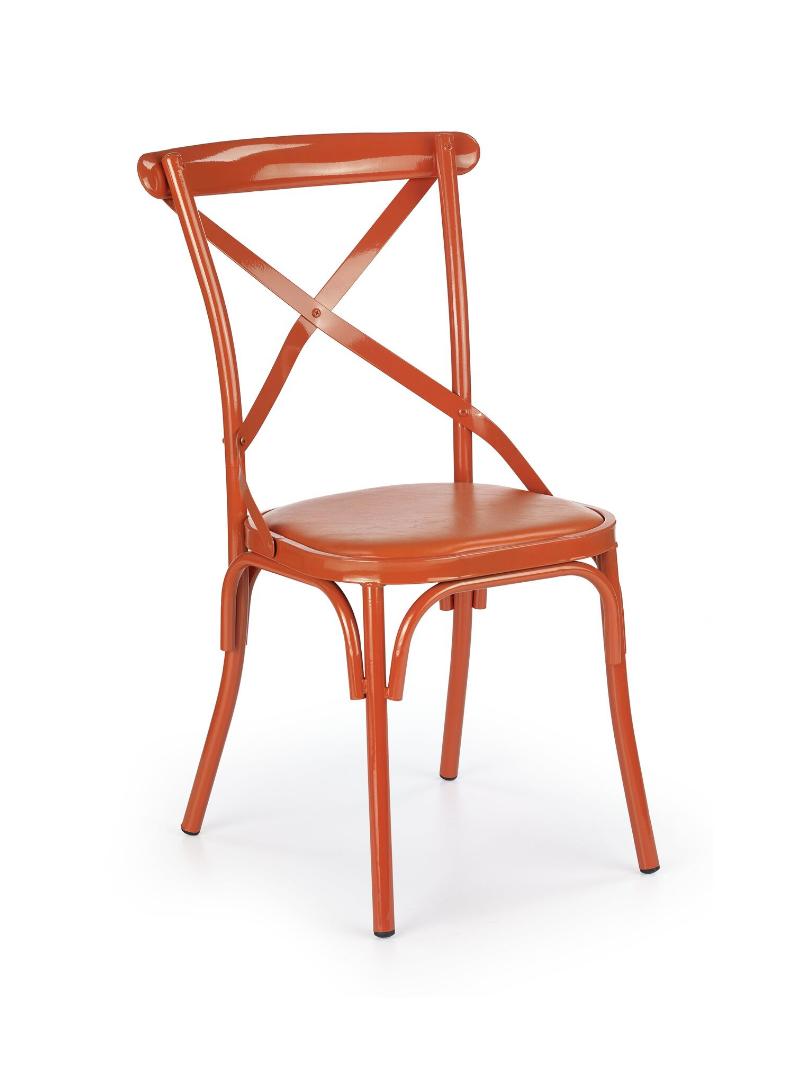 Scaun metalic tapitat cu piele ecologica K216 Orange