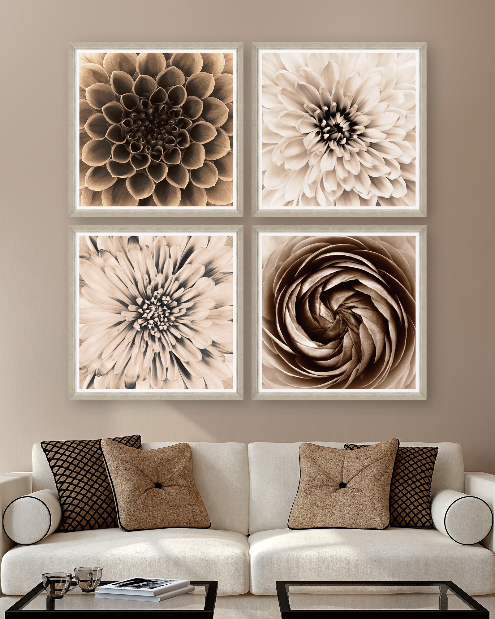 Tablou 4 piese Framed Art Sepia Dahlias