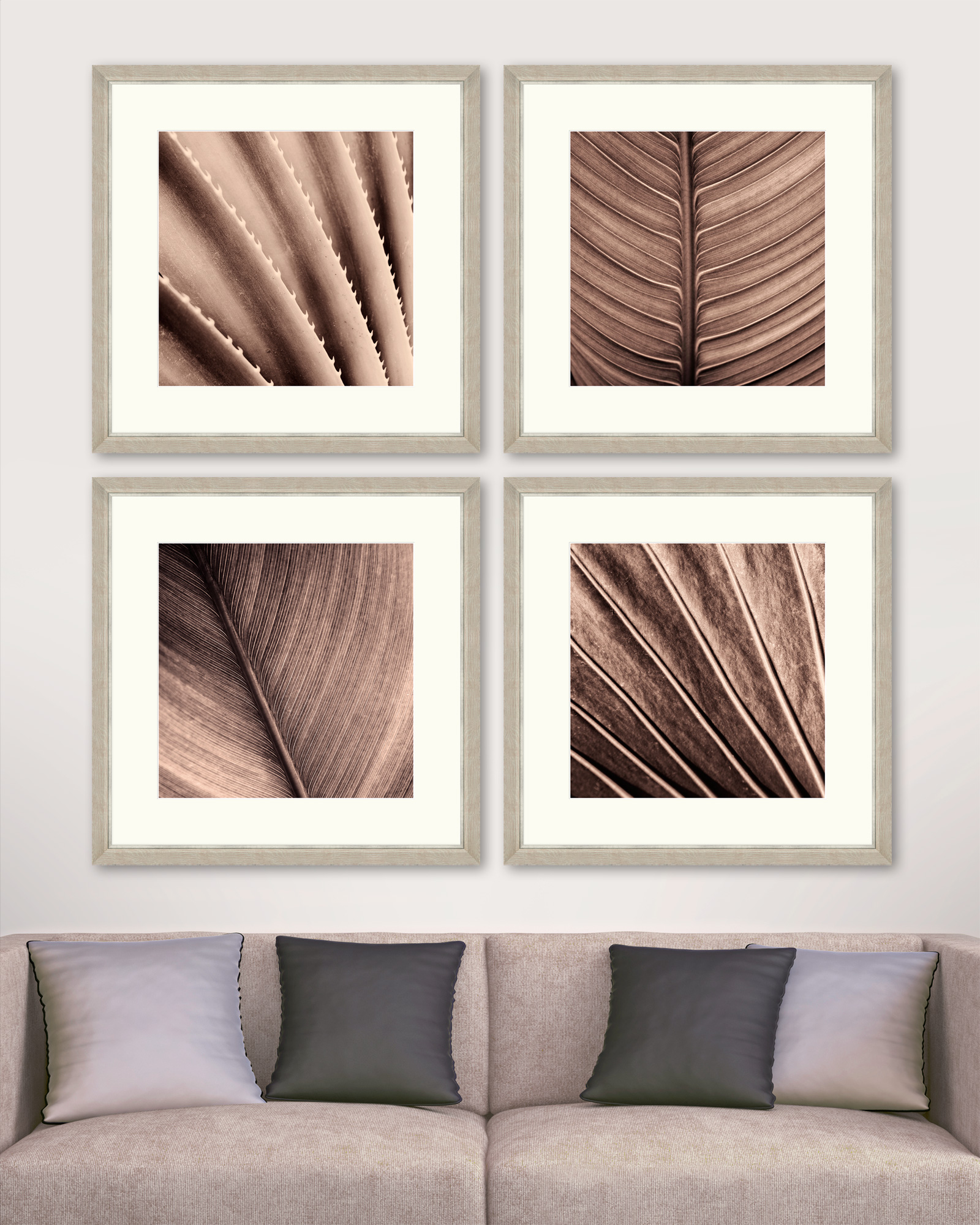 Tablou 4 piese Framed Art Sepia Palm Texture