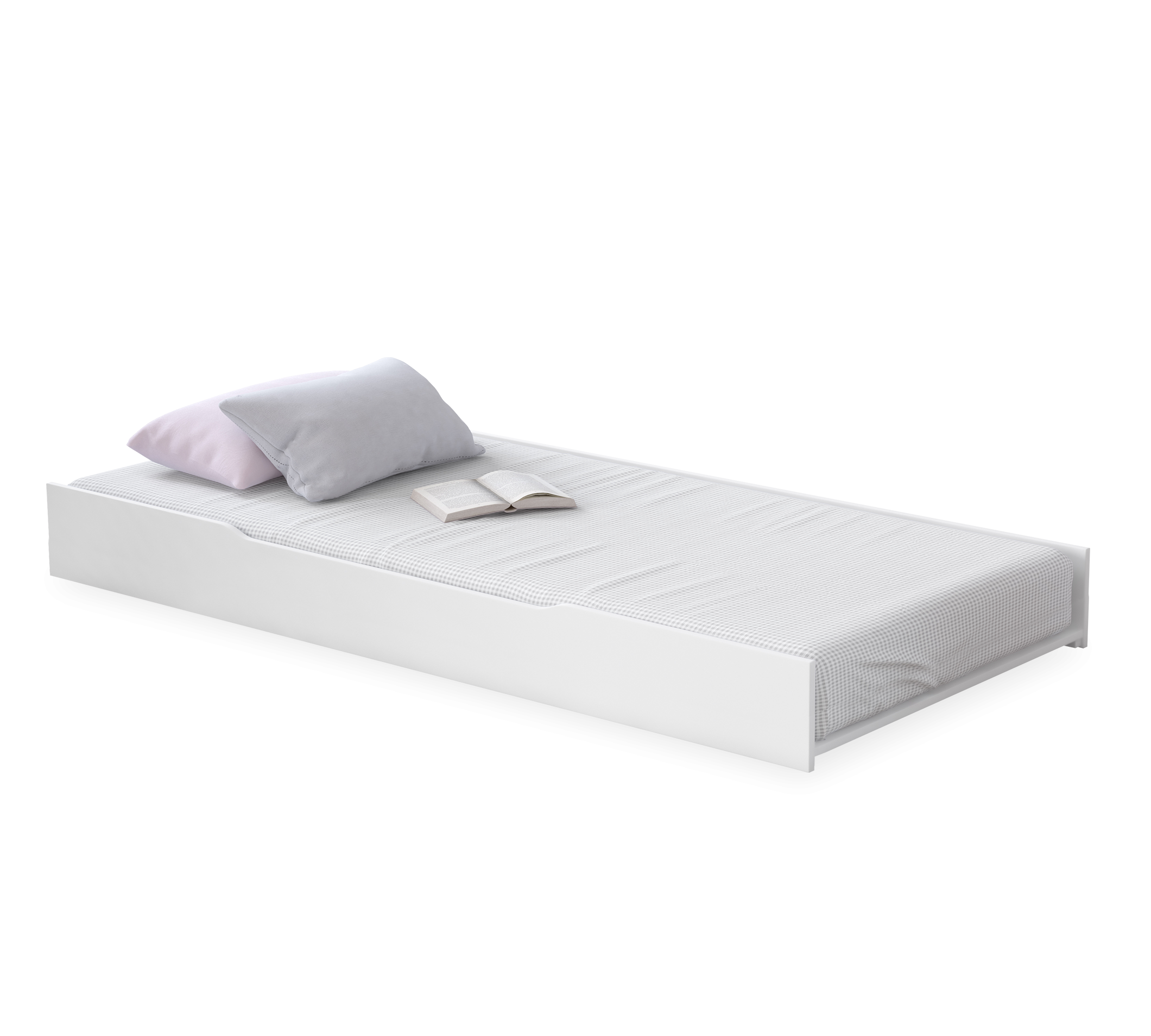 Sertar pat din pal, pentru tineret Rustic Alb, l200xA103xH26 cm
