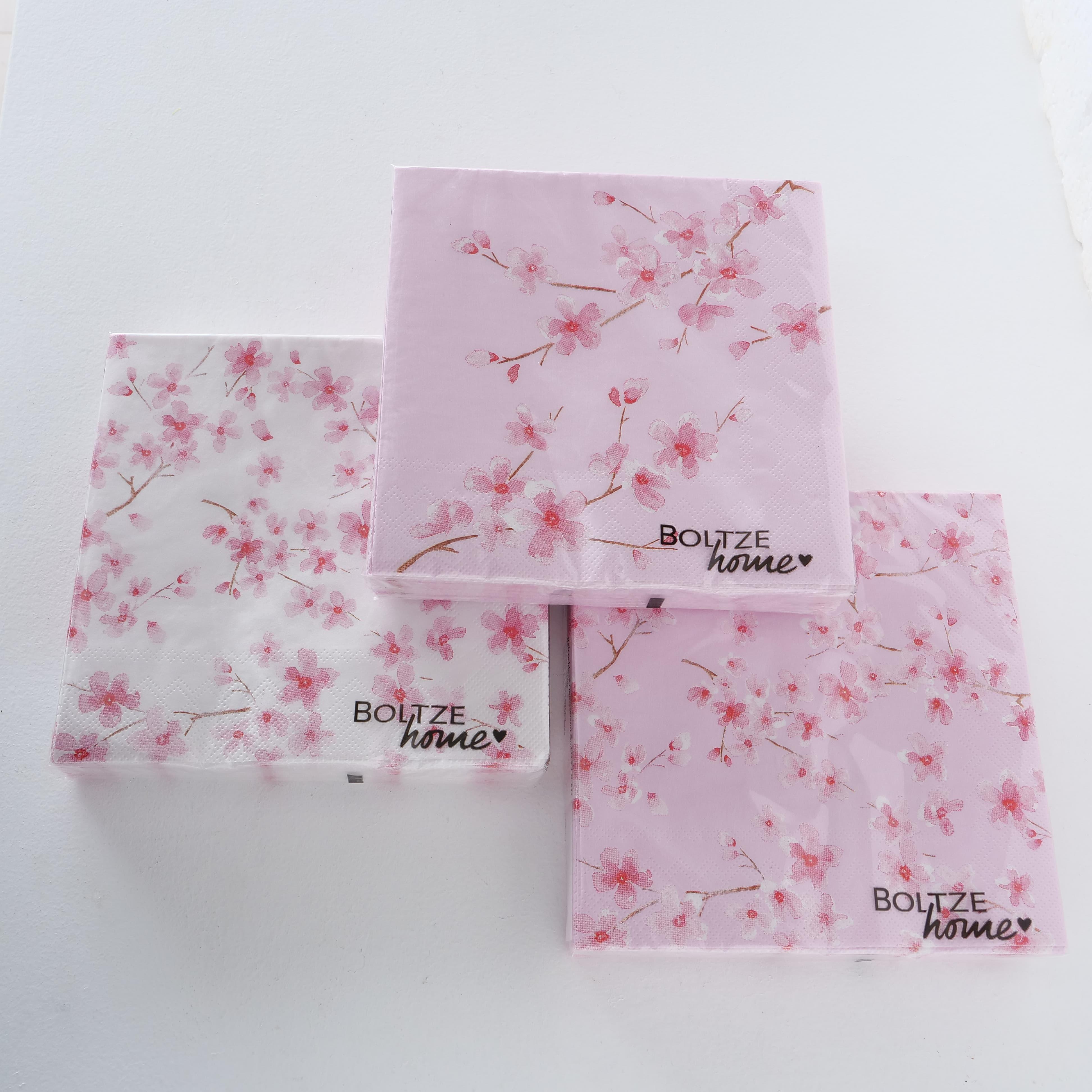Servetele de hartie Sakura Roz / Alb, Modele Asortate, 17 x 17 cm, 20 bucati somproduct.ro
