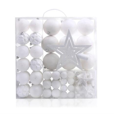 Set 100 globuri si stelute pentru brad din plastic Shiny White