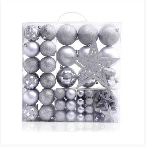 Set 100 globuri si stelute pentru brad din plastic Star Silver