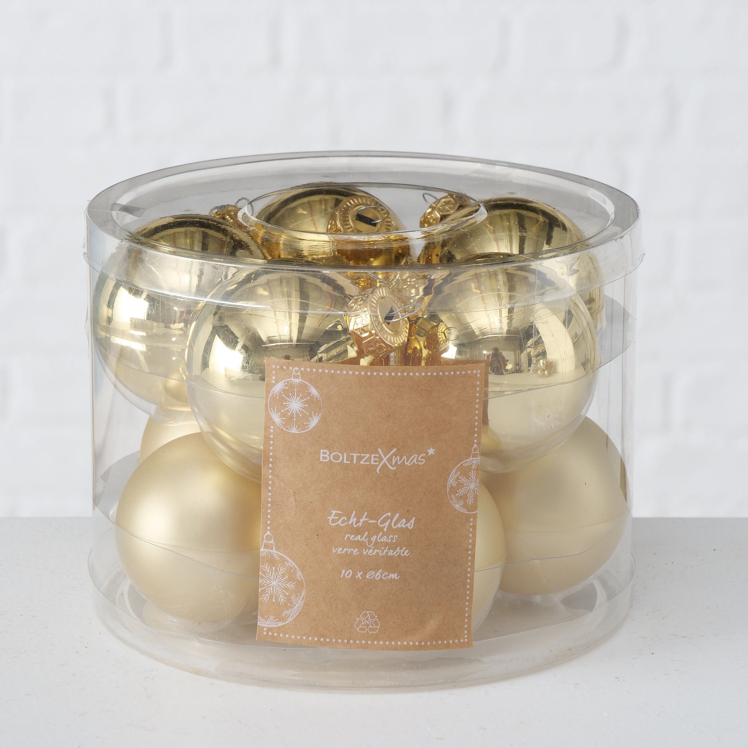 Set 10 globuri pentru brad, din sticla Christmas Auriu, Ø6 cm