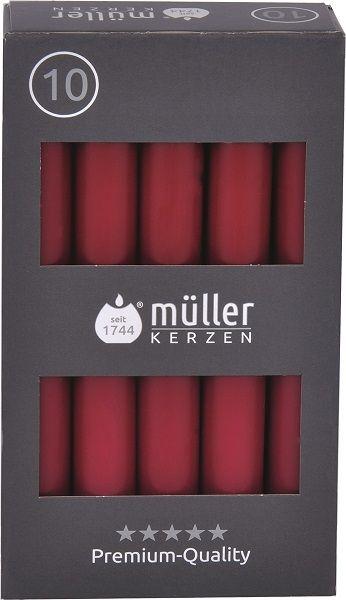 Set 10 Lumanari cilindrice Premium Visiniu, Ø2,2xH17,5 cm