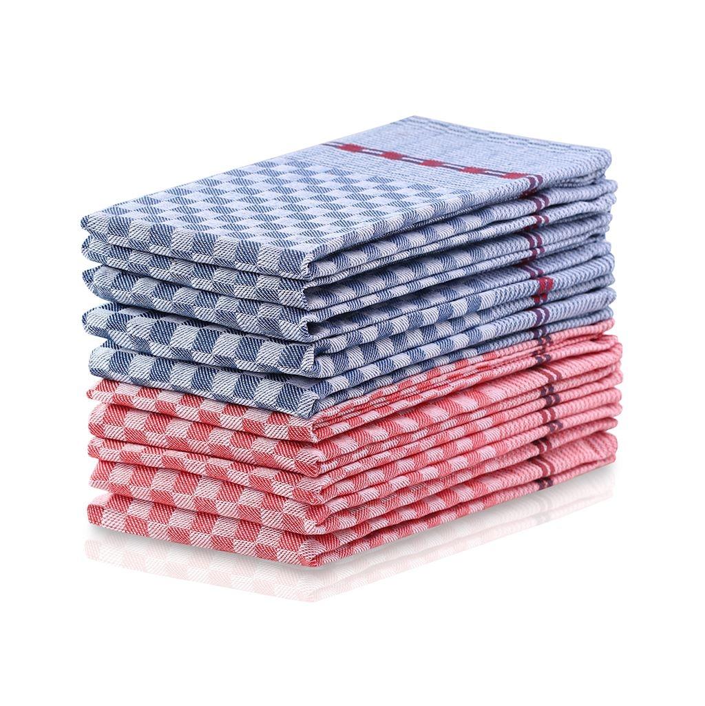 Set 10 prosoape de bucatarie Louie II Rosu / Albastru, 50 x 70 cm imagine