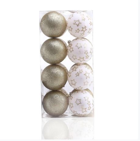 Set 16 globuri pentru brad din plastic Luna Alb / Auriu, Ø8 cm