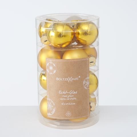 Set 16 globuri pentru brad, din sticla Christmas Auriu, Ø4 cm poza