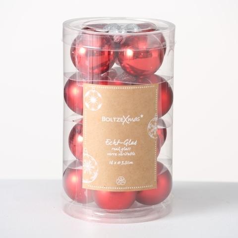 Set 16 globuri pentru brad, din sticla Christmas Rosu, Ø3,5 cm imagine