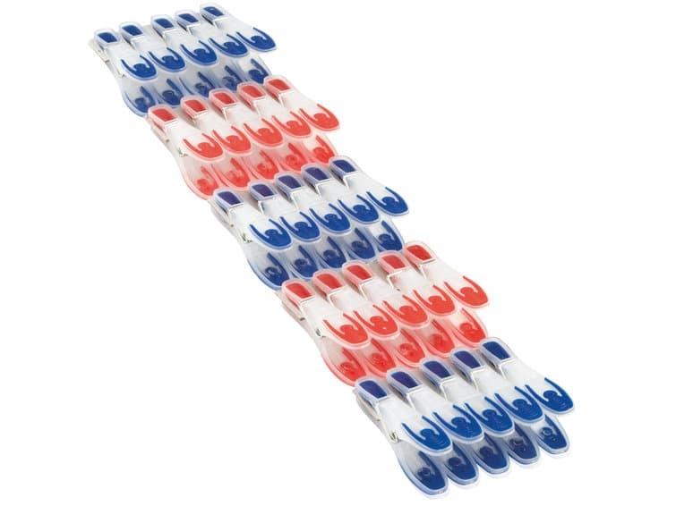 Set 25 carlige rufe din plastic, Pegs Rosu / Albastru imagine