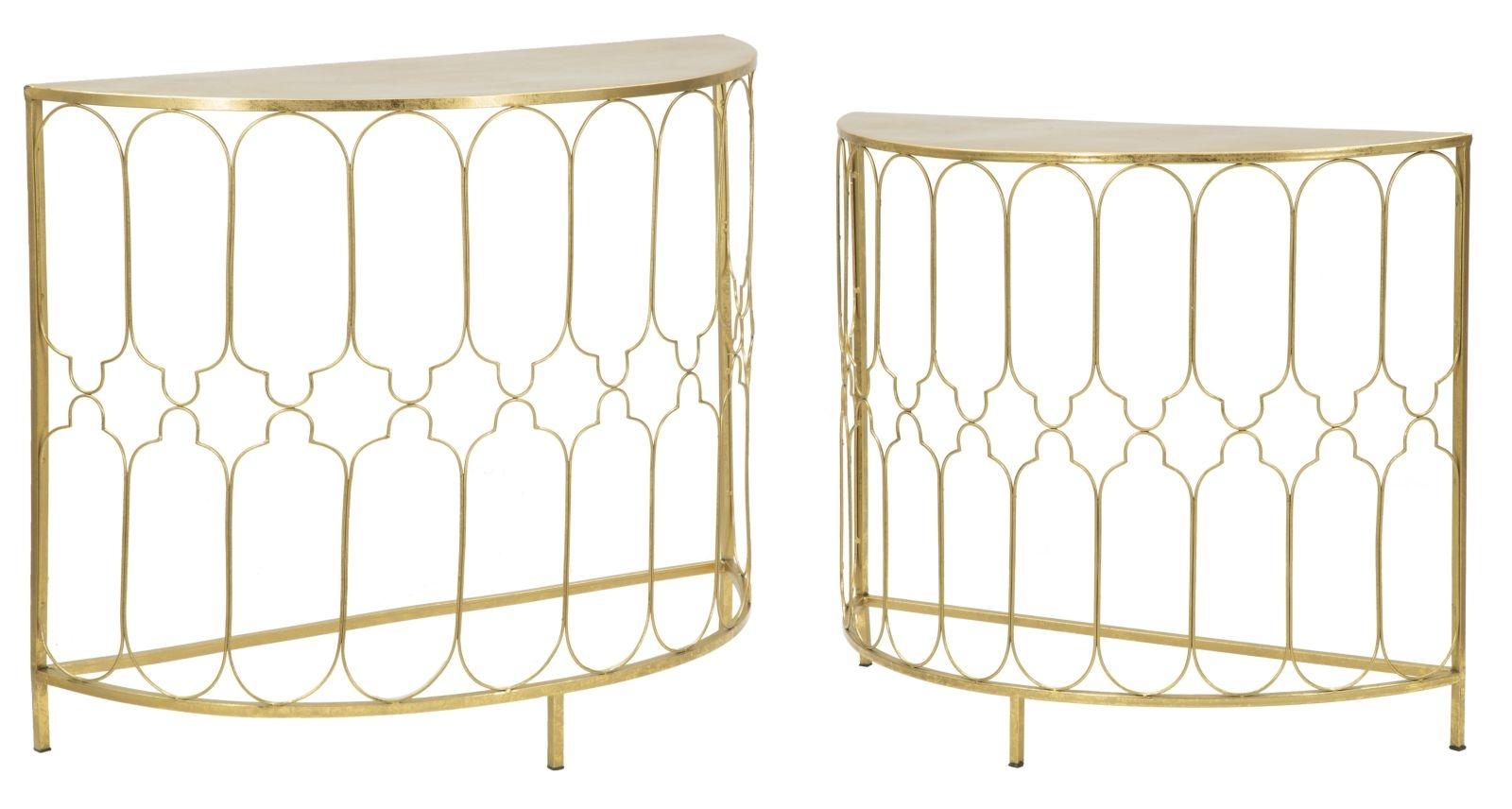Set 2 console din metal Balcony Gold, l100xA40xH80,5 / l87,5xA31xH74 cm