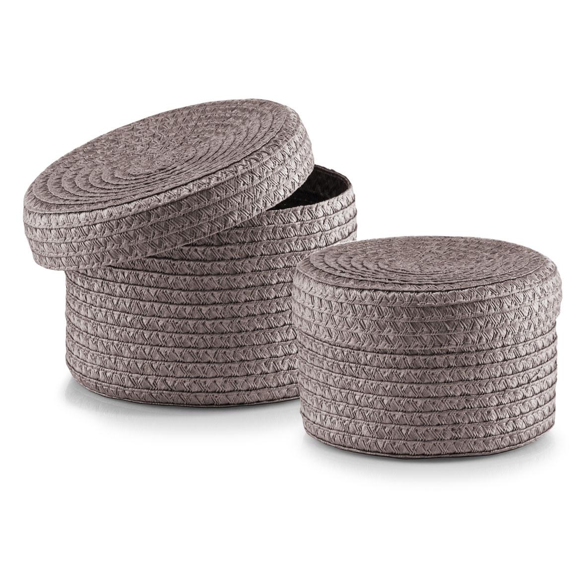 Set cosuri pentru depozitare cu capac Round, 2 piese, Grey Plastic