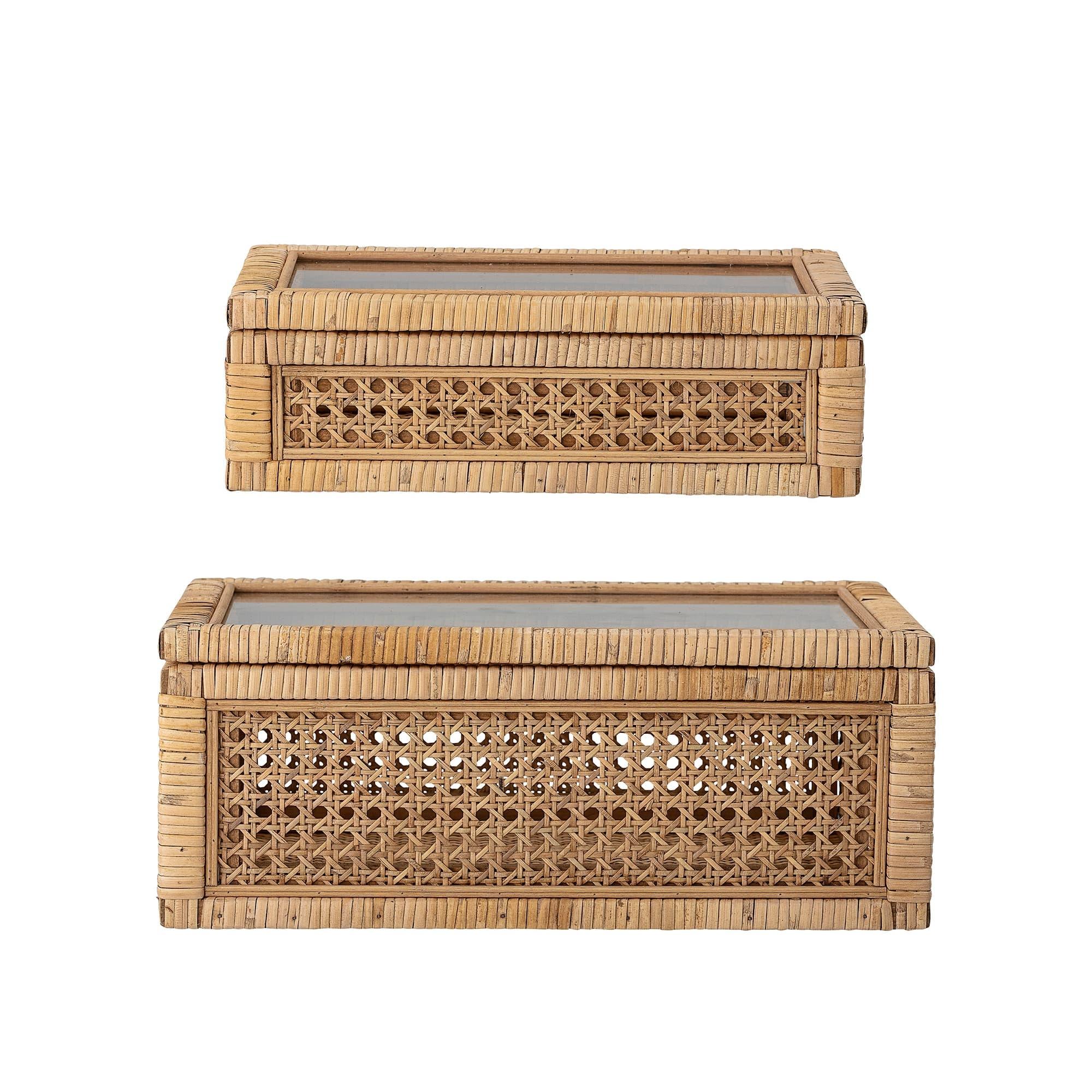 Set 2 cutii pentru depozitare cu capac din ratan, Lally Natur, l32xA17xH9 cm / l39xA24xH15,5 cm