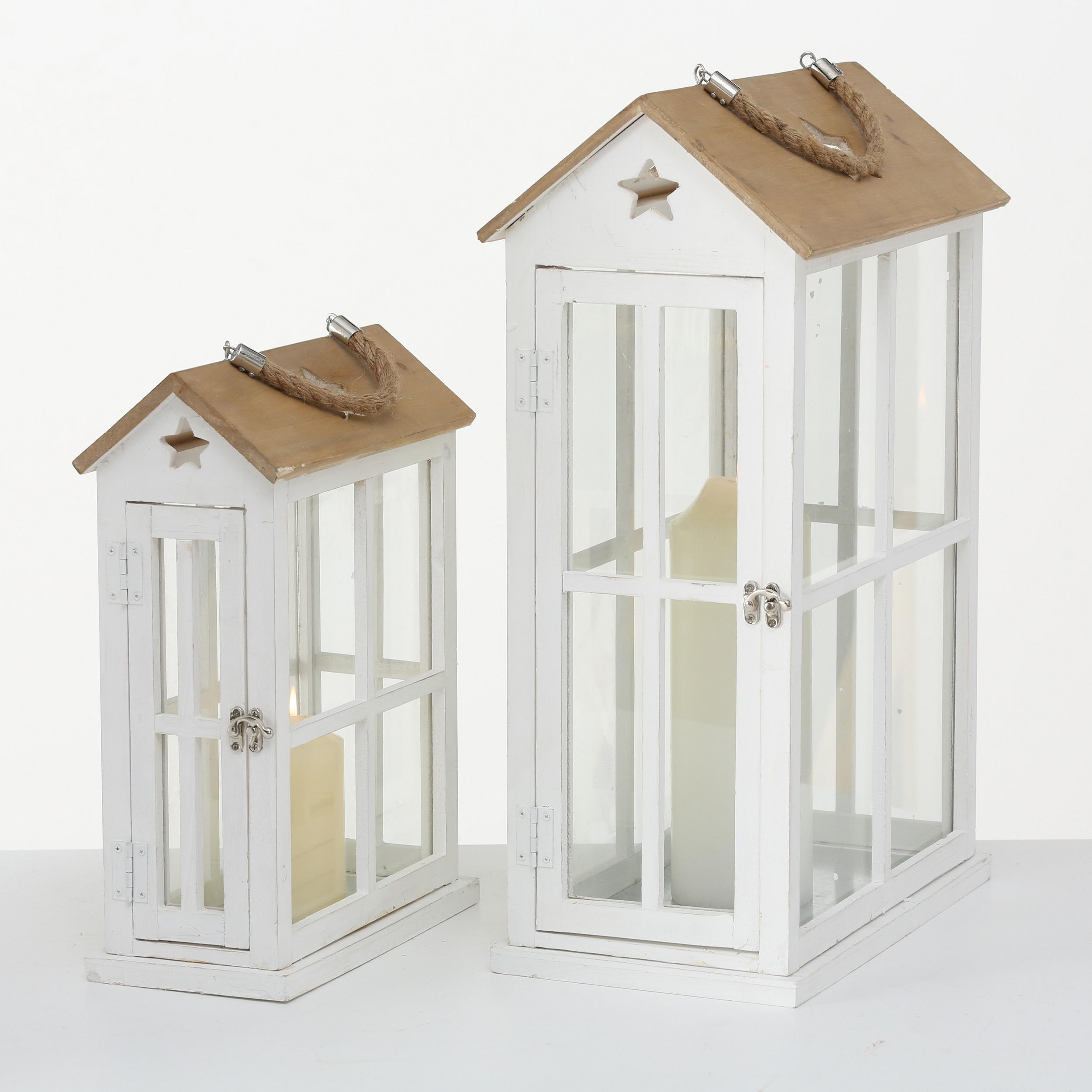 Set 2 felinare decorative din lemn Casa Alb / Natural, L21xl21xH55 cm / L14xl14xH38 cm imagine