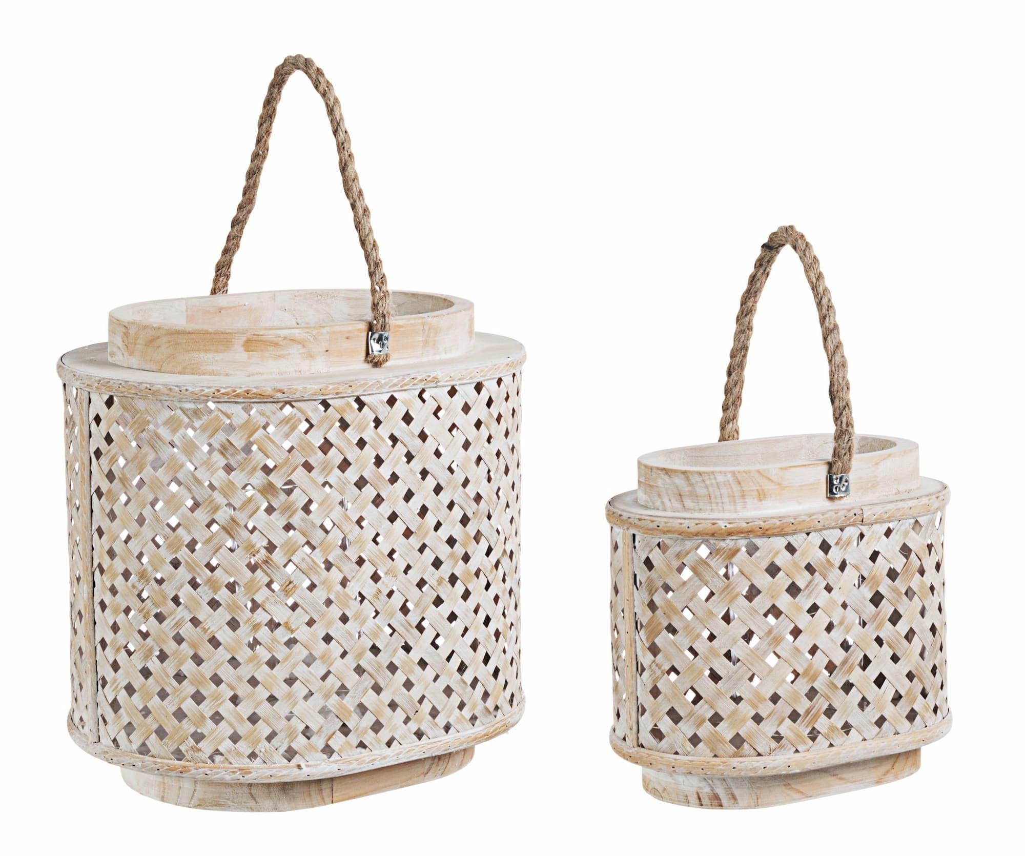 Set 2 felinare decorative din lemn de brad si bambus Intrex Oval Natural, L31xl24xH31 cm / L21xl14xH20 cm poza