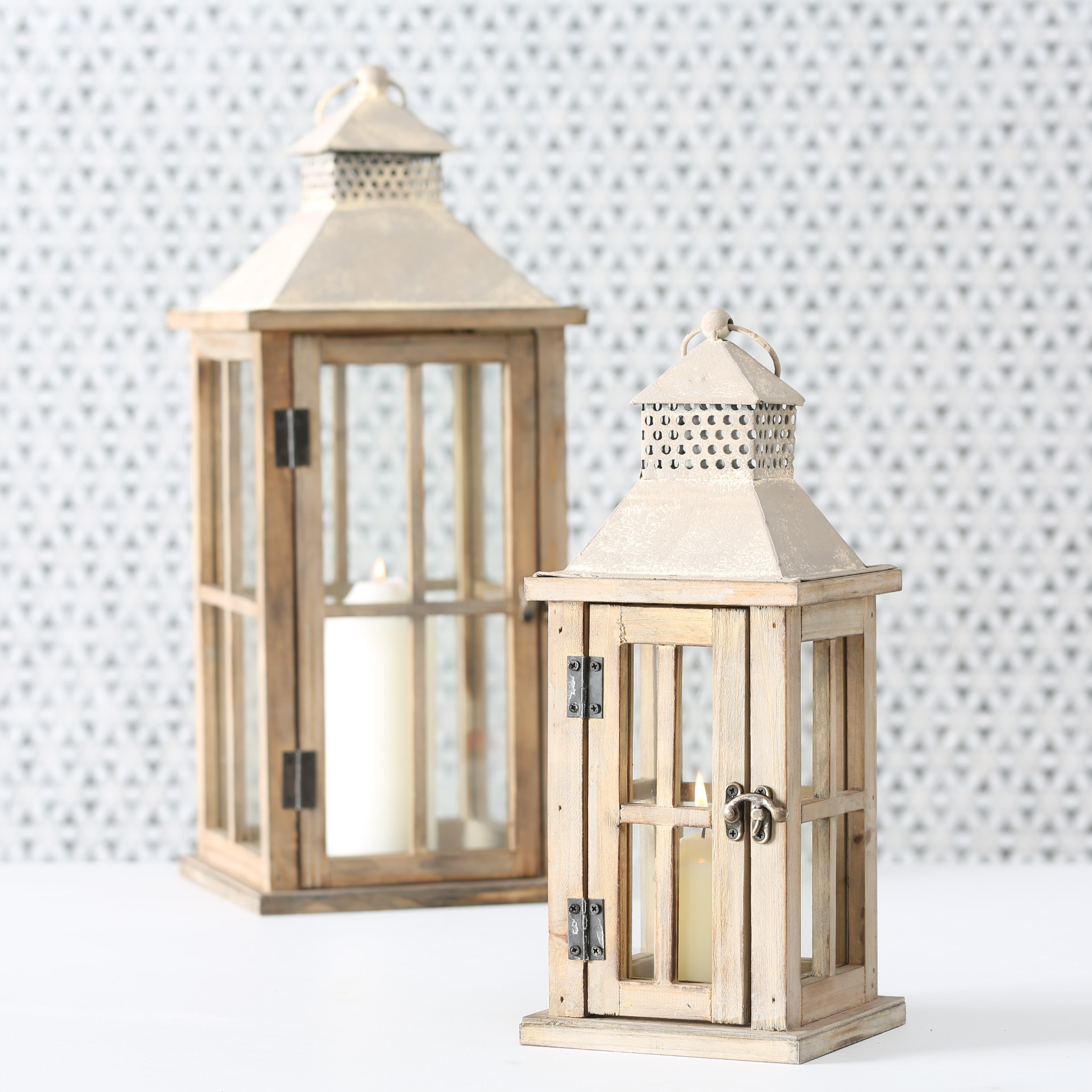 Set 2 felinare decorative din lemn Firola Natural, L21xl21xH50 cm / L15xl15xH33 cm poza