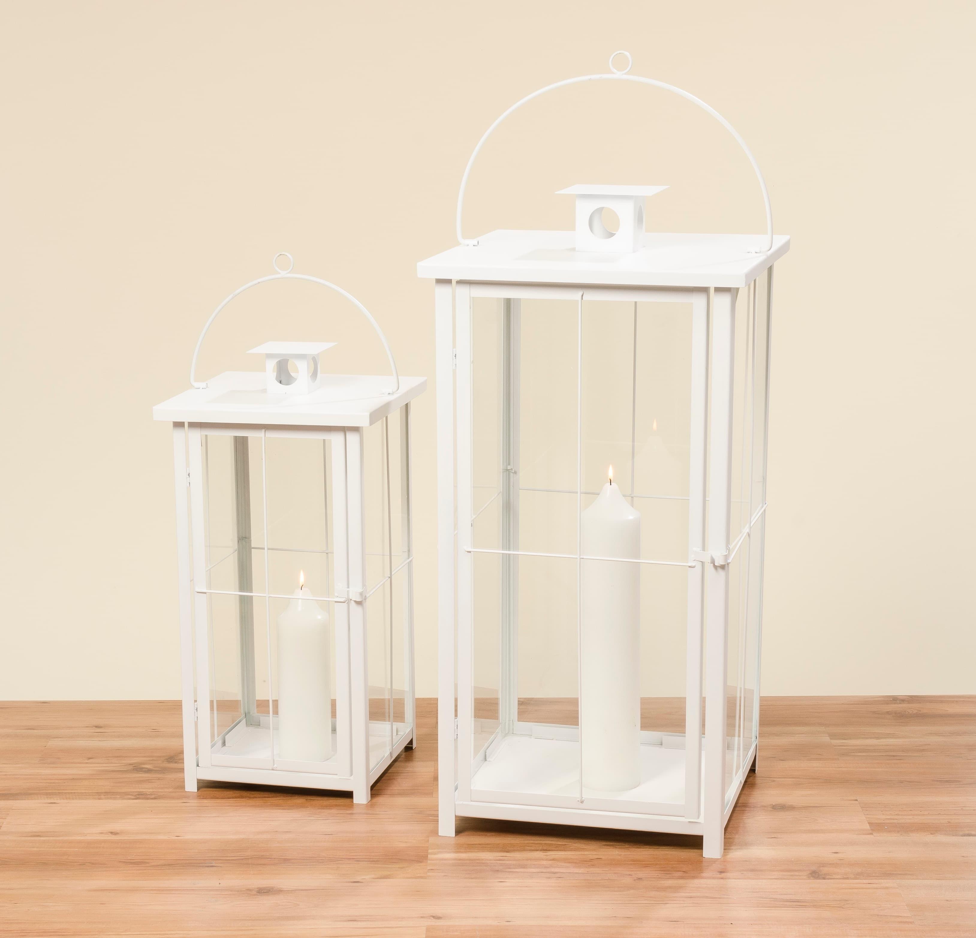 Set 2 felinare decorative din sticla si metal Arizona Alb, L49xl49xH100 cm / L37xl37xH73 cm