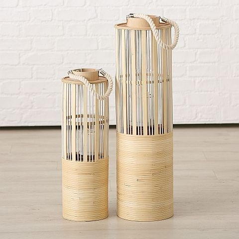 Set 2 felinare din bambus Shana Natural, Ø18xH56 / Ø22xH75 cm imagine
