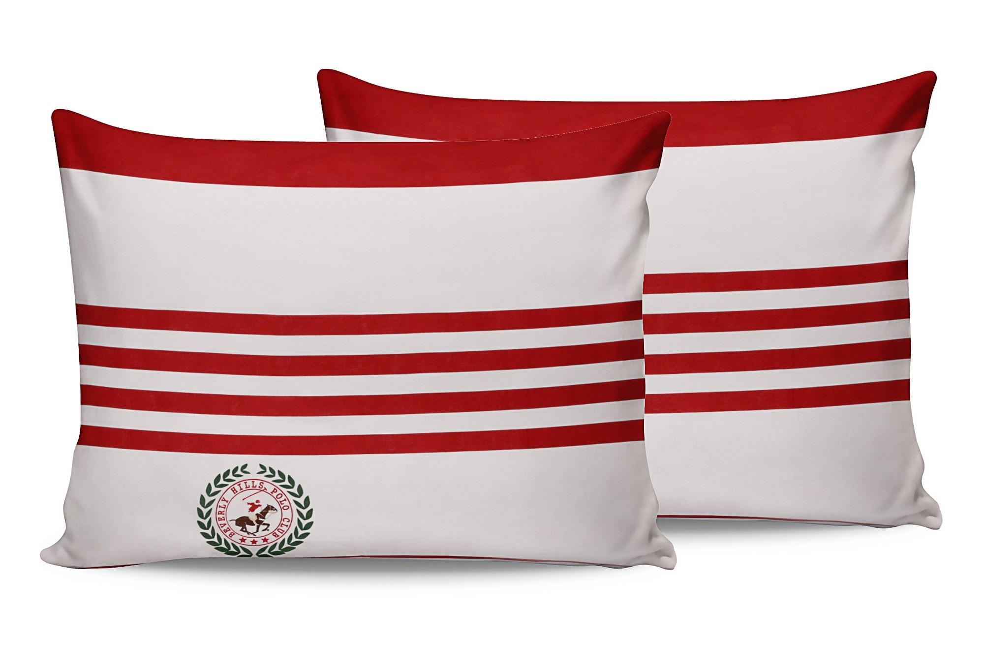 Set 2 fete perna din bumbac, Beverly Hills Polo Club BHPC 003 Rosu / Alb, 50 x 70 cm