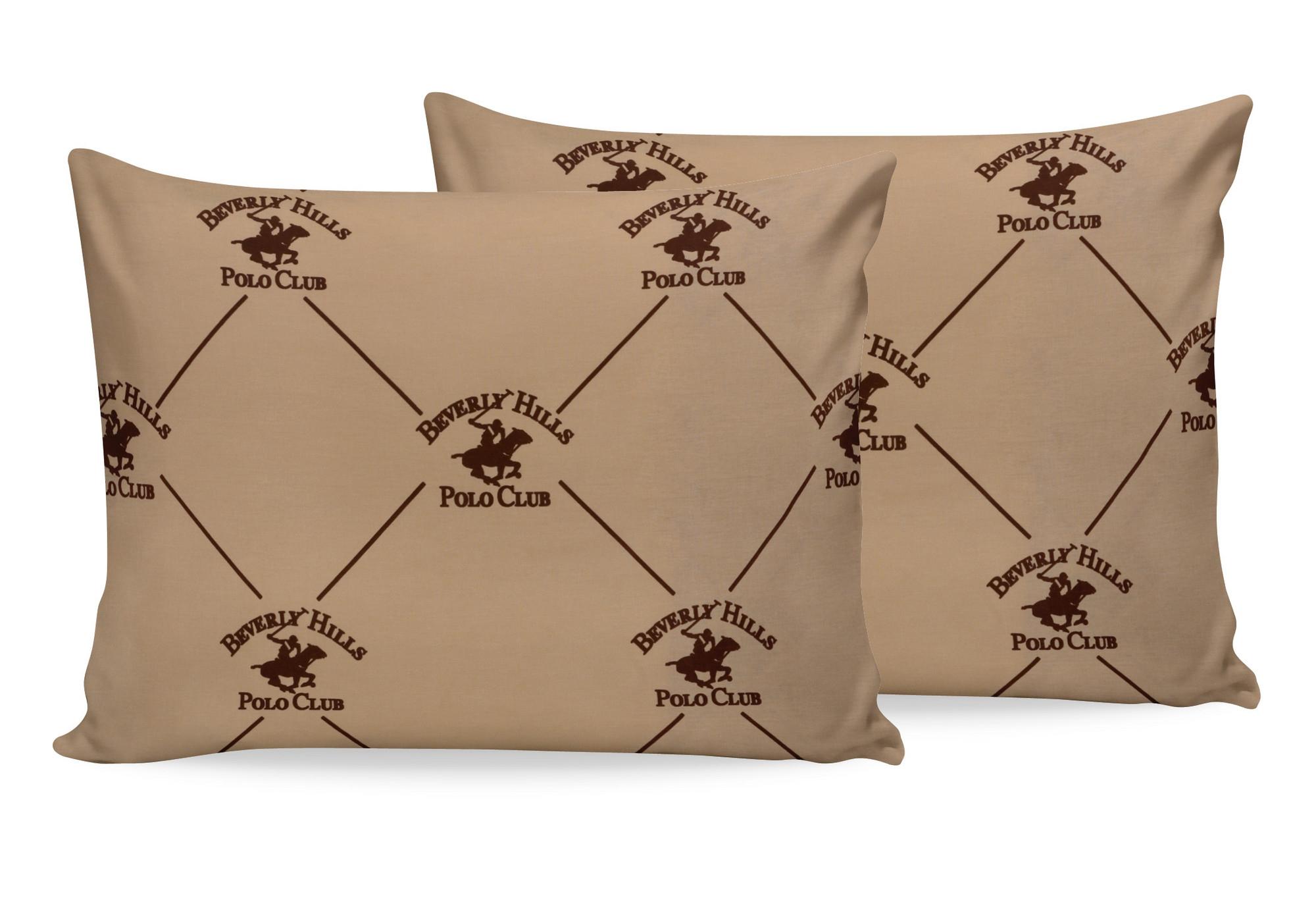Set 2 fete perna din bumbac, Beverly Hills Polo Club BHPC 006 Bej / Maro, 50 x 70 cm