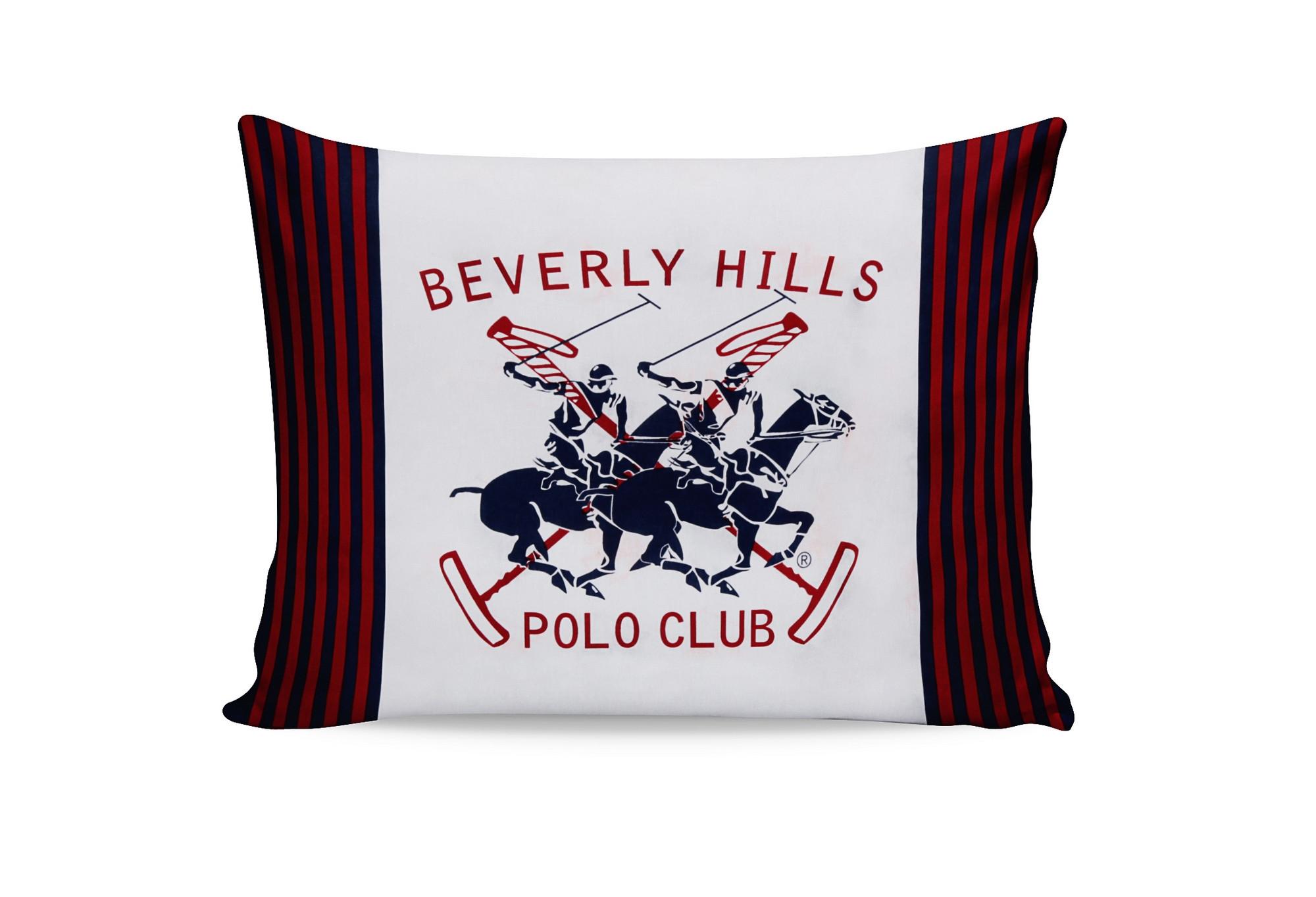 Set 2 fete perna din bumbac, Beverly Hills Polo Club BHPC 009 Alb / Rosu, 50 x 70 cm