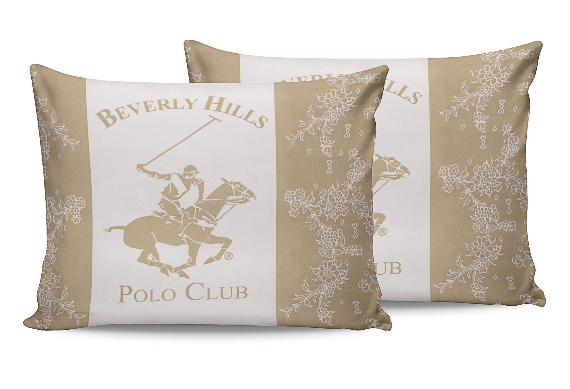Set 2 fete perna din bumbac, Beverly Hills Polo Club BHPC 013 Crem / Alb, 50 x 70 cm