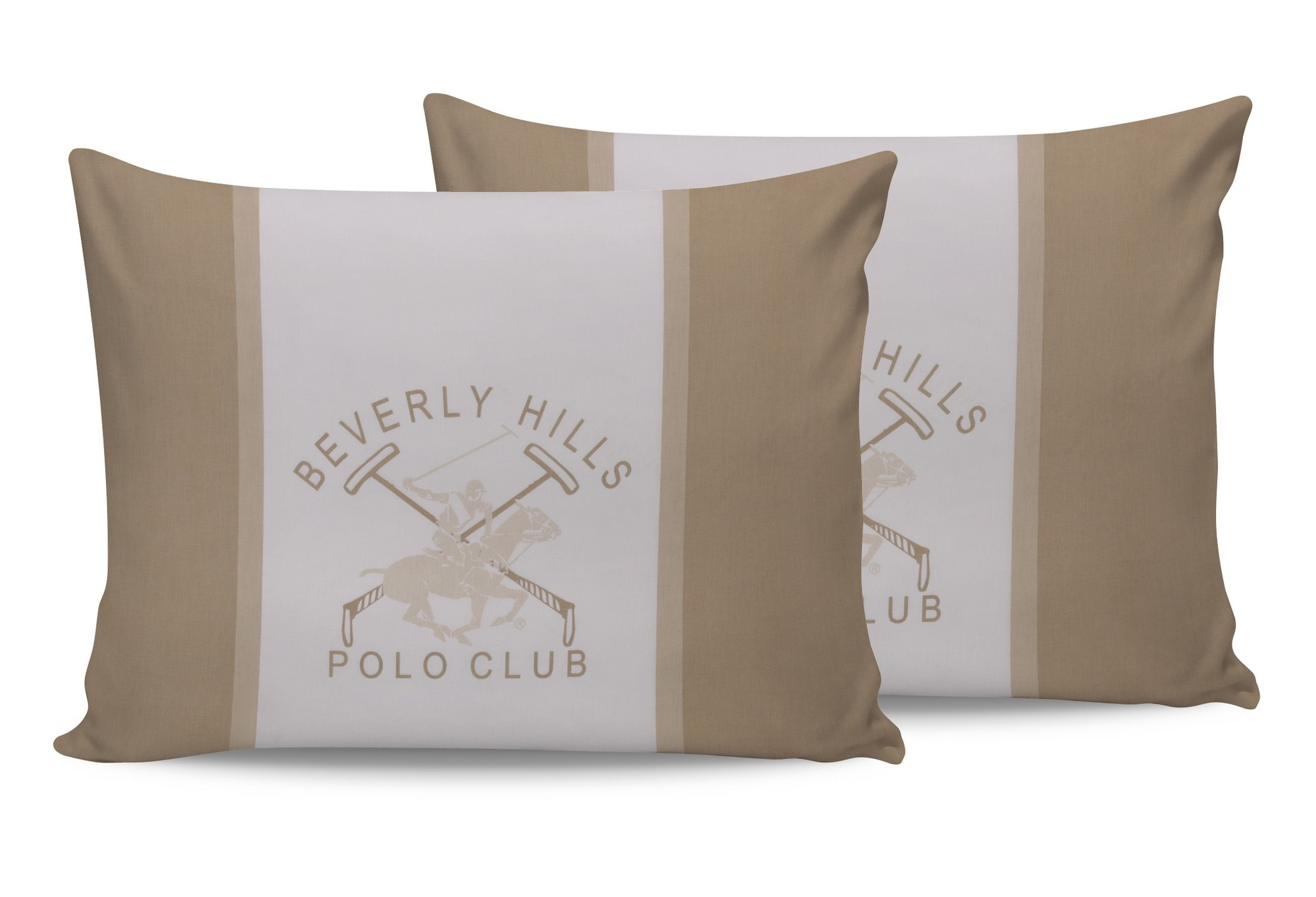 Set 2 fete perna din bumbac, Beverly Hills Polo Club BHPC 024 Crem / Alb, 50 x 70 cm