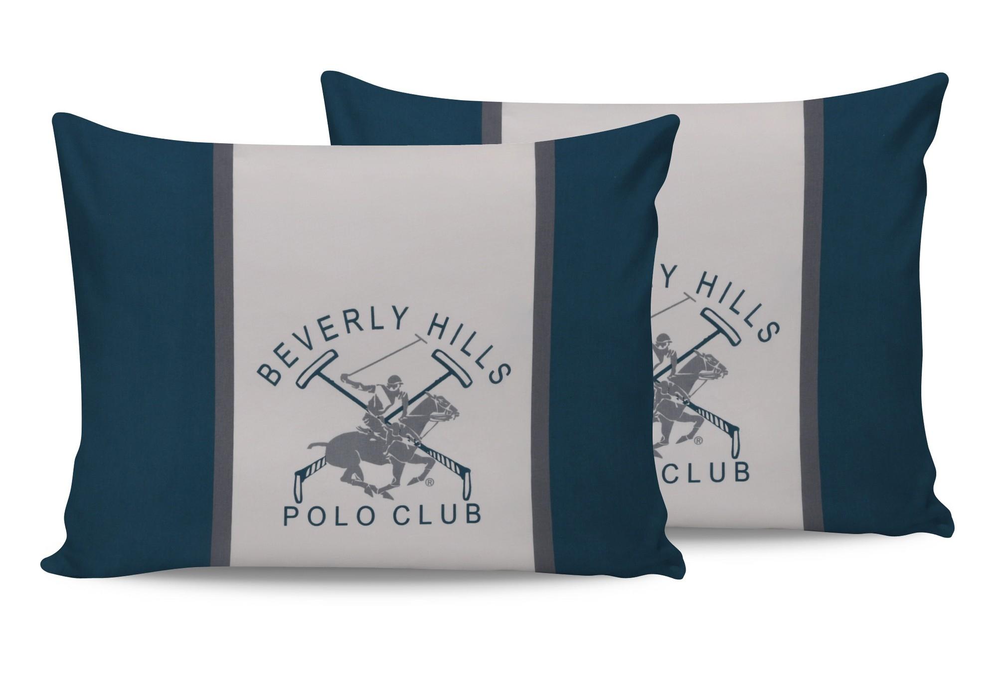 Set 2 fete perna din bumbac, Beverly Hills Polo Club BHPC 024 Verde / Alb, 50 x 70 cm