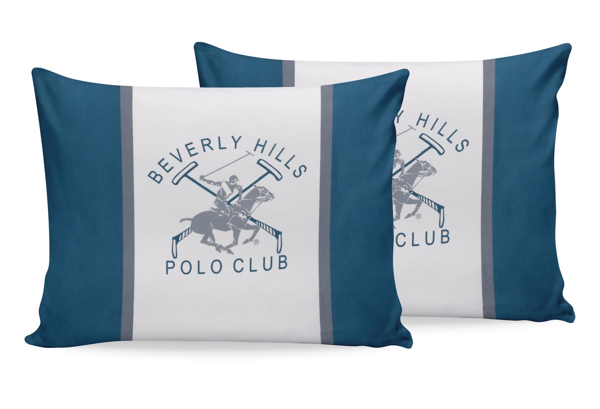 Set 2 fete perna din bumbac, Beverly Hills Polo Club BHPC 025 Verde / Alb, 50 x 70 cm